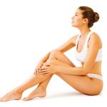Woman Body Beauty, Model Girl Sitting White Underwear, Leg Skin